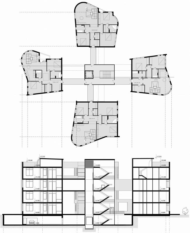 дом-четырехлистник: план и разрез