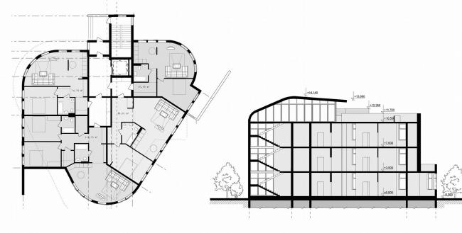 треугольный дом - план и разрез