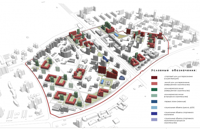 Concept of reorganizing City Blocks 32-33 and 34-35 in the area of the Vernadskogo Avenue. Wave migration. The stage of building the commercial housing stock © Ginsburg Architects + Mosproject
