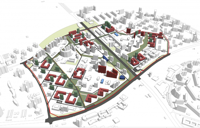 Concept of reorganizing City Blocks 32-33 and 34-35 in the area of the Vernadskogo Avenue. Plan of the Boulevard Ring © Ginsburg Architects + Mosproject