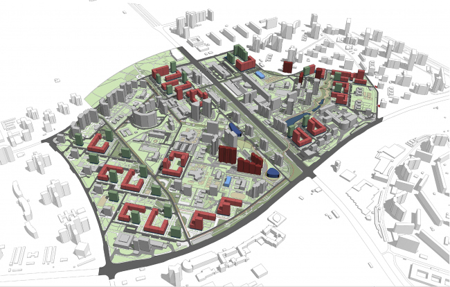 Concept of reorganizing City Blocks 32-33 and 34-35 in the area of the Vernadskogo Avenue. Architectural and space-planning design © Ginsburg Architects + Mosproject