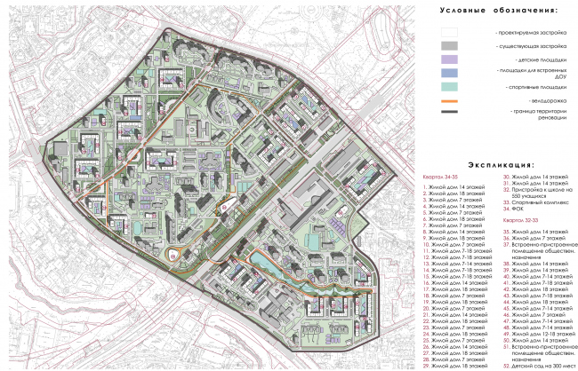 Concept of reorganizing City Blocks 32-33 and 34-35 in the area of the Vernadskogo Avenue. Photofixation. Schematic construction plan © Ginsburg Architects + Mosproject