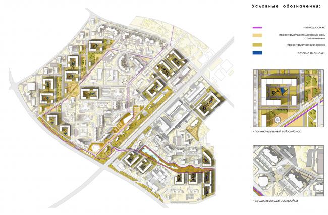 Концепция реорганизации кварталов территории 32-33, 34-35 района проспекта Вернадского. Схема благоустройства © Гинзбург Архитектс + Моспроект