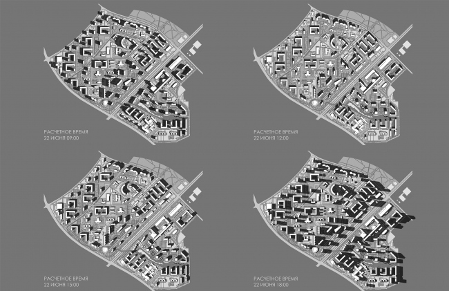 Concept of reorganizing City Blocks 32-33 and 34-35 in the area of the Vernadskogo Avenue. Shadow map © Ginsburg Architects + Mosproject