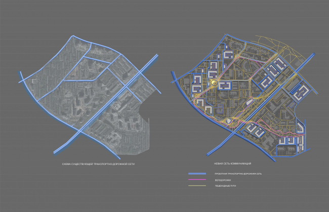 Concept of reorganizing City Blocks 32-33 and 34-35 in the area of the Vernadskogo Avenue. Transport diagram © Ginsburg Architects + Mosproject