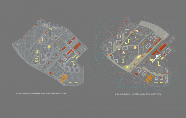 Concept of reorganizing City Blocks 32-33 and 34-35 in the area of the Vernadskogo Avenue. Social infrastructure projects © Ginsburg Architects + Mosproject