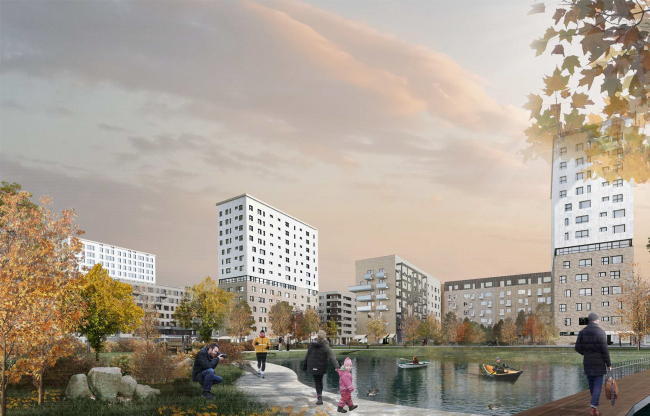 Concept of reorganizing City Blocks 32-33 and 34-35 in the area of the Vernadskogo Avenue. Visualization. View of the park © Ginsburg Architects + Mosproject