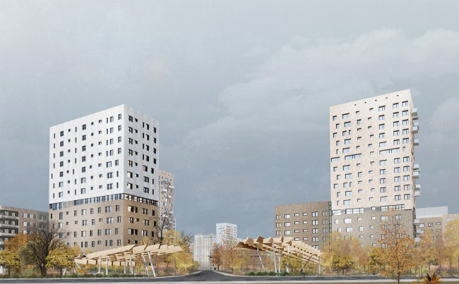 Concept of reorganizing City Blocks 32-33 and 34-35 in the area of the Vernadskogo Avenue. Visualization. View of the city block © Ginsburg Architects + Mosproject