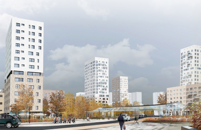 Concept of reorganizing City Blocks 32-33 and 34-35 in the area of the Vernadskogo Avenue. Visualization. View of the boulevard © Ginsburg Architects + Mosproject