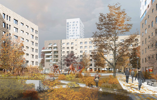 Concept of reorganizing City Blocks 32-33 and 34-35 in the area of the Vernadskogo Avenue. Visualization. View of the yard © Ginsburg Architects + Mosproject