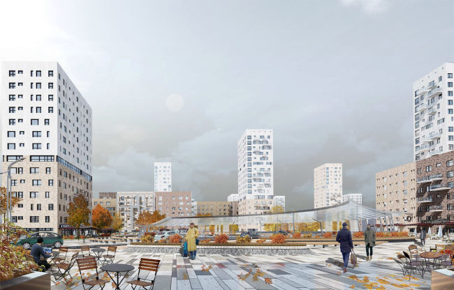 Concept of reorganizing City Blocks 32-33 and 34-35 in the area of the Vernadskogo Avenue. Visualization. View of the square © Ginsburg Architects + Mosproject