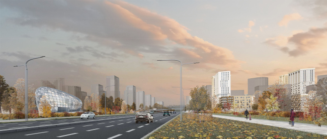 Concept of reorganizing City Blocks 32-33 and 34-35 in the area of the Vernadskogo Avenue. Visualization. View of the Vernadskogo Avenue © Ginsburg Architects + Mosproject