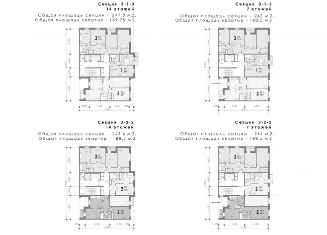 Concept of reorganizing City Blocks 32-33 and 34-35 in the area of the Vernadskogo Avenue. Plans of the standard floors of the corner sections © Ginsburg Architects + Mosproject