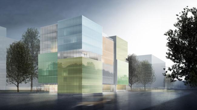 Вид с улицы. Операционный центр Colors of Humanity, Женева © Steven Holl Architects