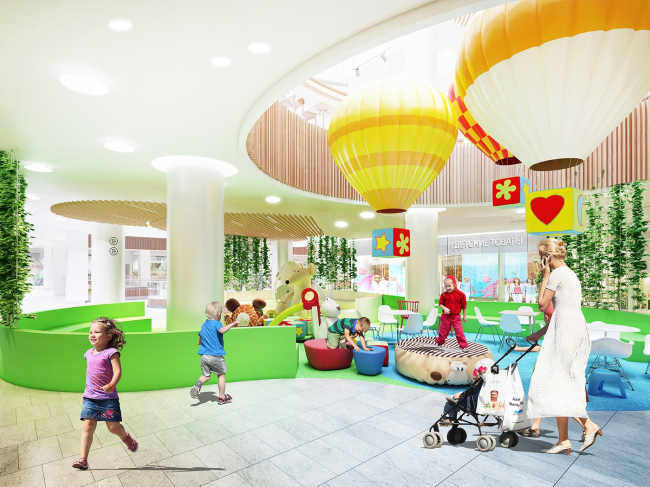 """Renovation of the """"Fifth Avenue"""" shopping center. Interior of the children′s zone © Blank Architects"""