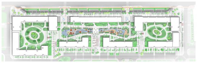 План благоустройства. Жилой комплекс Файна Таун. 1 очередь © Архиматика