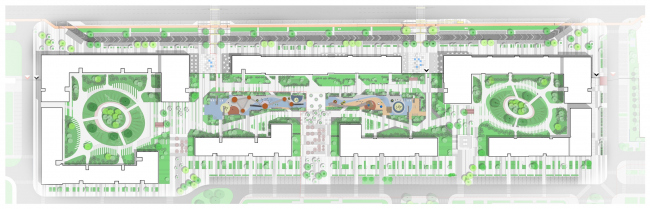 """Landscaping plan. """"Fayna Town"""" housing complex. First stage of construction © ARKHIMATIKA"""
