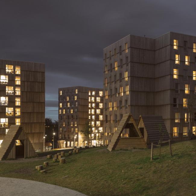 Студенческое общежитие Moholt 50|50 © Victor Kleive, Inbovi AS