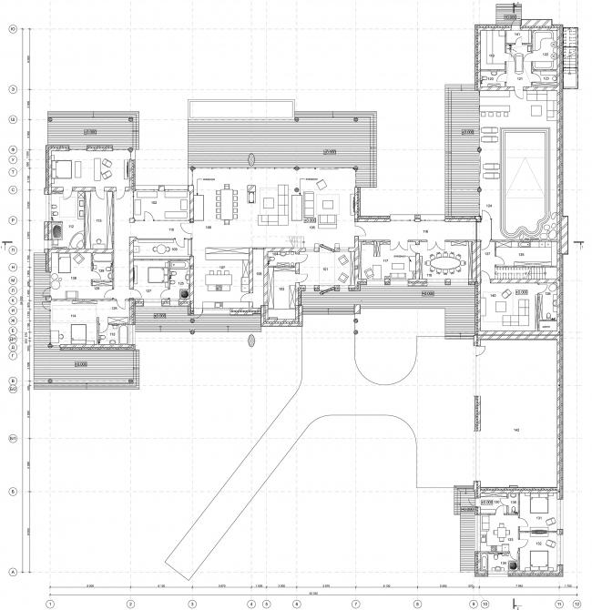 Wing House. План 1 этажа © Архитектурное бюро Романа Леонидова