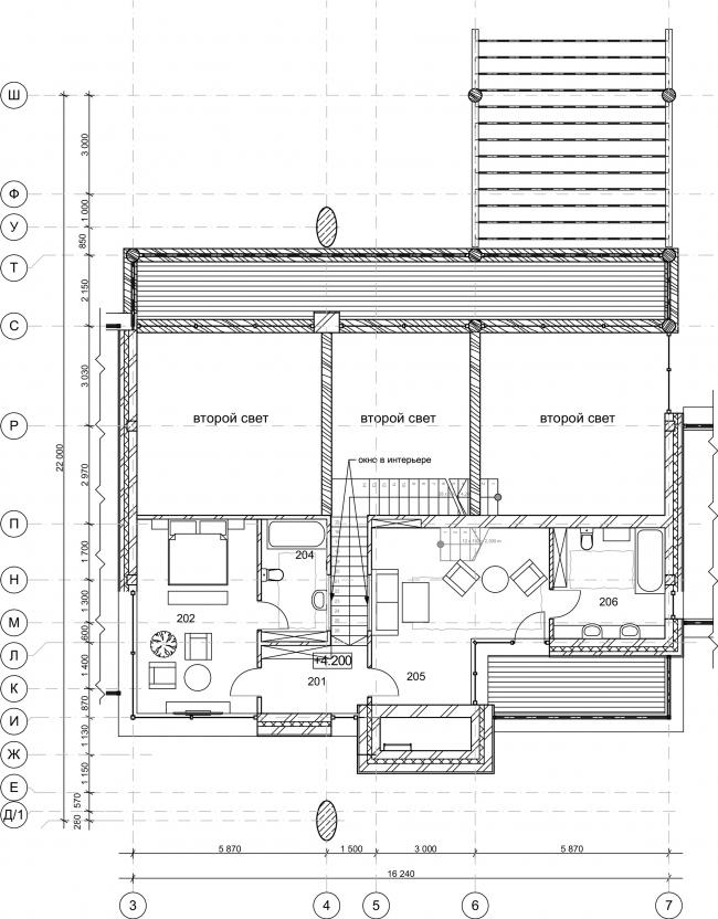 Wing House. План 2 этажа © Архитектурное бюро Романа Леонидова