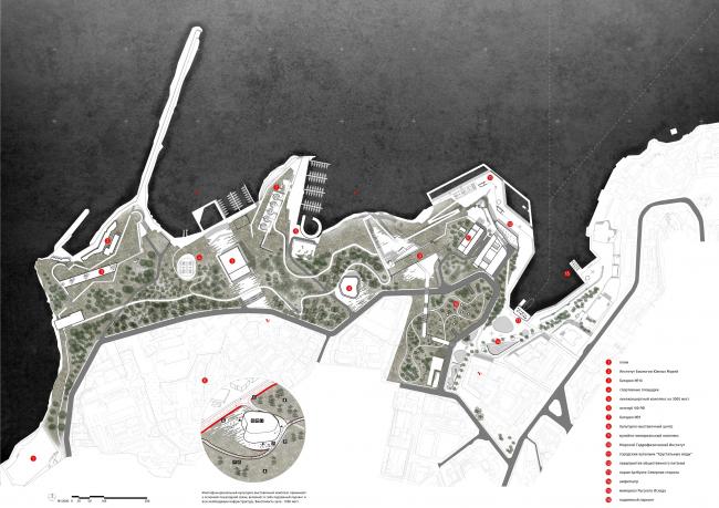 Городской парк в Севастополе на мысе Хрустальный. Генеральный план © OK ARCHITECTS
