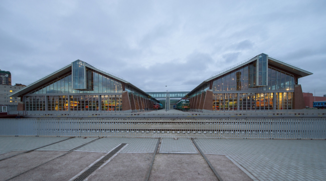 The Central Museum of the Oktyabrskaya Railway. View of the new building from the transporter side © Studio 44