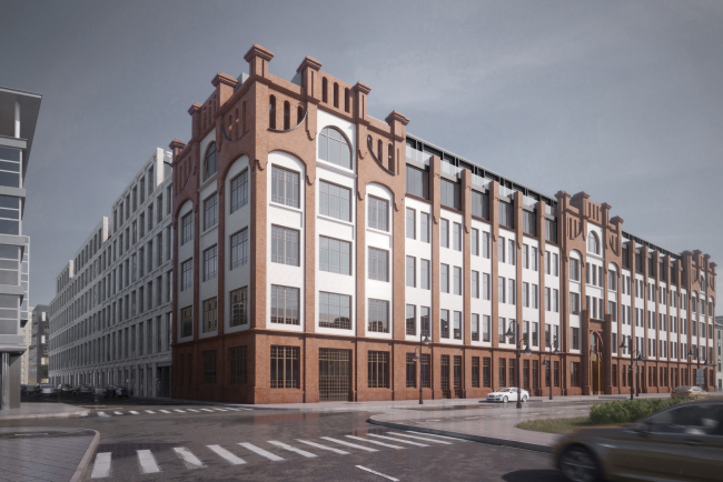 Contest project of renovating the First Exemplary Printing Works. View from the Pyatnitskaya Street © DNK ag