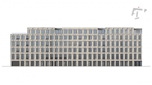 Конкурсный проект реновации Первой образцовой типографии. Фасад дома 2 по 3-му Монетчиковскому переулку © ДНК аг