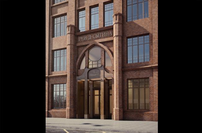 Конкурсный проект реновации Первой образцовой типографии. Главный вход с Пятницкой улицы. © ДНК аг