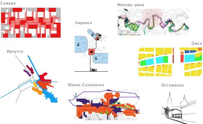 Градостроительные проекты АБ «Остоженка» охватывают широкий спектр масштабов – от от «S» – группы кварталов до «XL» – крупного города. © АБ «Остоженка»