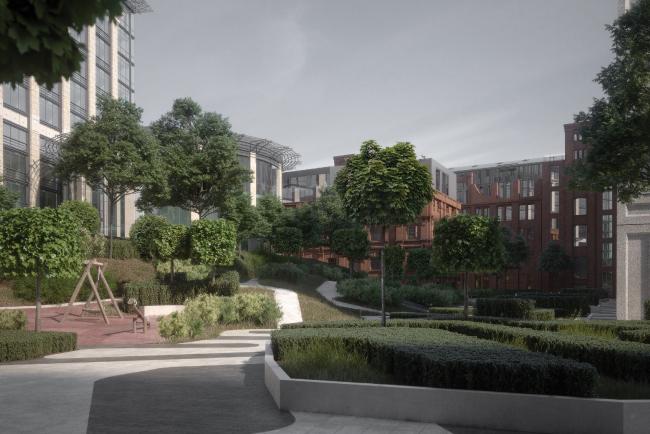Конкурсный проект проект реновации Первой образцовой типографии. Вид на Новый двор с парком  © ДНК аг