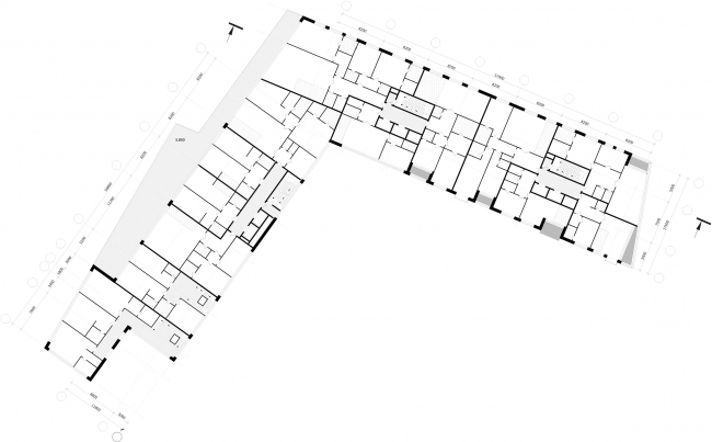 """Z-House"" residential complex. Plan of the 2-3 floor © ATRIUM"