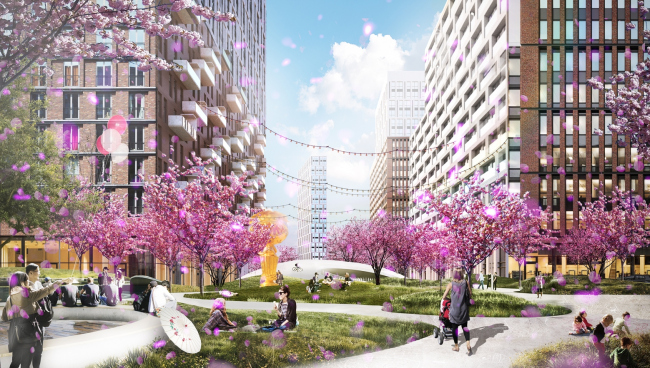 "One of the new squares - the ""Sakura Square"" with a decorative garden © UNK project"