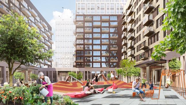 Внутренний двор квартала – приватная территория для жителей окружающих домов. © UNK project