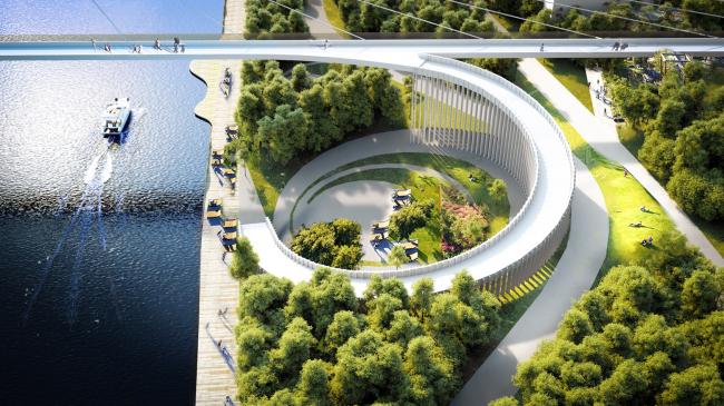 «Площадь на воде» соединена с благоустроенной набережной и зоной отдыха вдоль Москва-реки. © UNK project