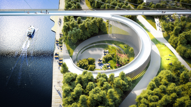 """""""Square on the water"""" is connected with an improved embankment and a recreation zone running along the Moskva River′s waterfront © UNK project"""