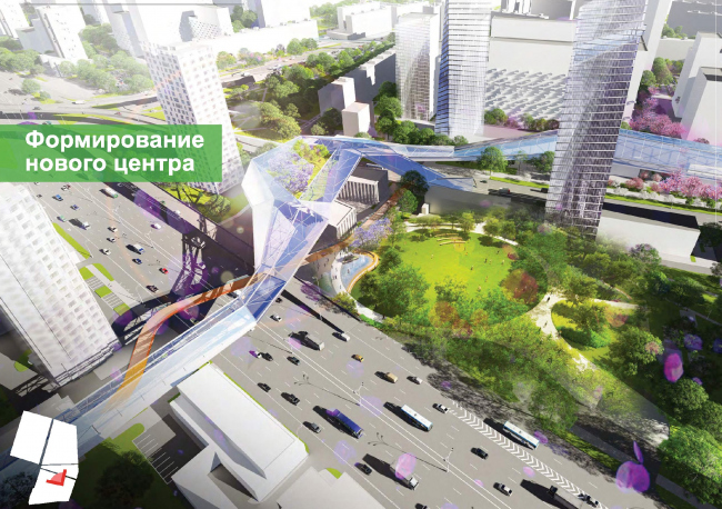 The area withon 500 meters fropm the metro station will become the territory's main public center © UNK project