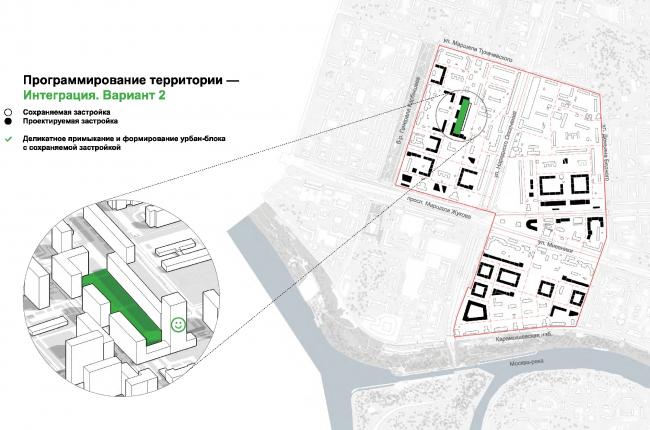 Один из вариантов интеграции новой застройки с сохраняемыми жилыми домами. © UNK project
