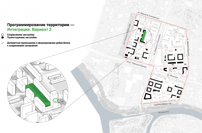 One of the options for integrating the new construction with the preserved houses © UNK project
