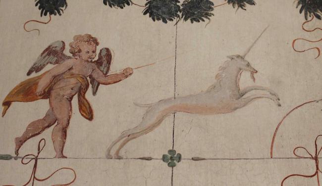 Фреска с единорогом с виллы Пойяна.