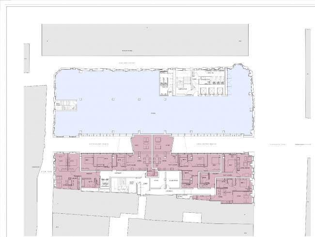Комплекс на Чансери-лейн, 79-86. План второго этажа © Orms