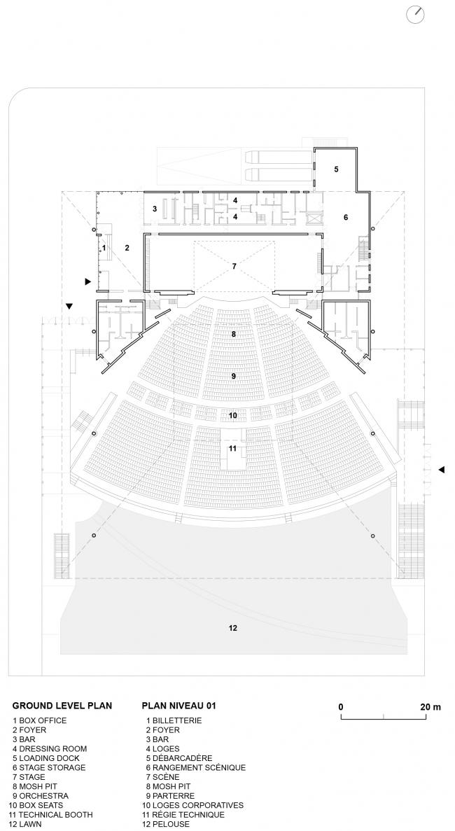 План 1 этажа. Амфитеатр Cogeco. Изображение предоставлено Atelier Paul Laurendeau