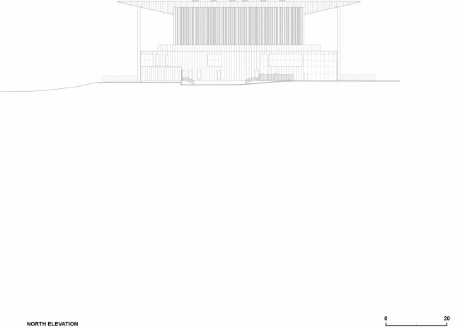 Вид с северной стороны.  Амфитеатр Cogeco. Изображение предоставлено Atelier Paul Laurendeau