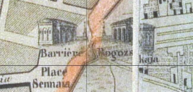 "Rogozhskie Vorota. Fragment of the ""Nouveau plan de Moscou illustre"" (""New Illustrated Plan of Moscow"") published by Daziaro, M, 1852  /   retromap.ru"
