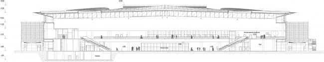 Новый пассажирский терминал аэропорта в Перми. Разрез © Архитектурное бюро Асадова