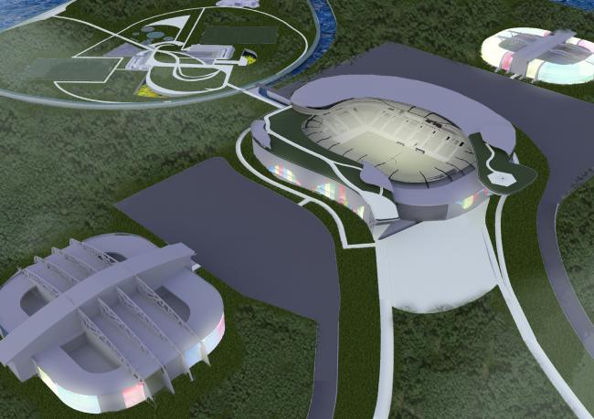 Проект стадиона «ΘФΘ» для ФК «Уфа». Авторы: Кирилл Меркулов,  Ксения Нуждина, МАРХИ