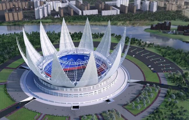 Проект стадиона в Симферополе. Авторы: Смирнов Максим,  Немчикова Екатерина, СПбГАСУ