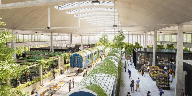 Кампус предприятий-стартапов Station F. Ресторан. Открытие в конце 2017  © Wilmotte & Associés Architectes