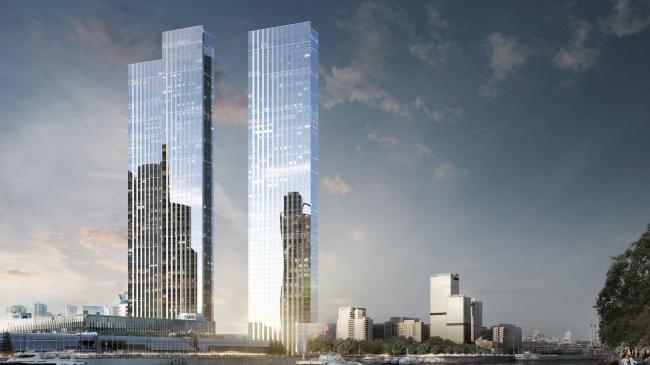 Проект небоскребов Capital Towers (270м) на Краснопресненской набережной. © Sergey Skuratov architects