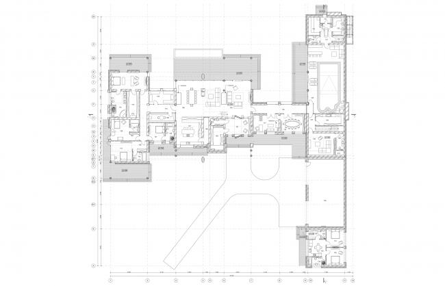 План первого этажа. Дом в Подмосковье. Архитектор Роман Леонидов © АБ Романа Леонидова